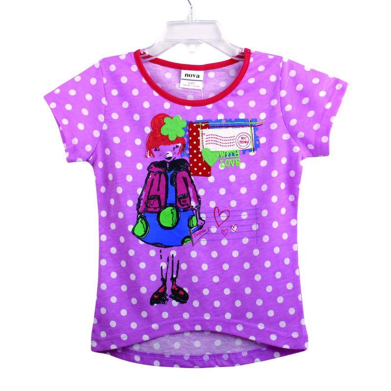two colors children t shirts for girls t shirts nova kids girls clothes baby girl top summer dot children cloting summer style(China (Mainland))