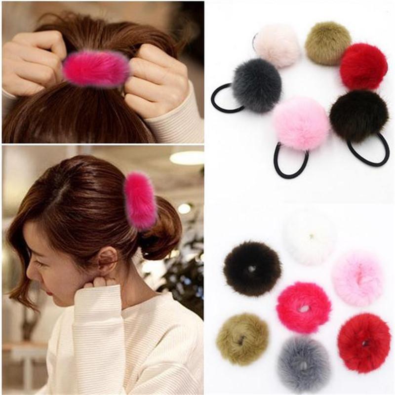 Hot Korean Headband Artificial Rabbit Fur Ball Elastic Hair Band Hair Accessories Women Girls Ponytail Holders Hair Clip Gift(China (Mainland))