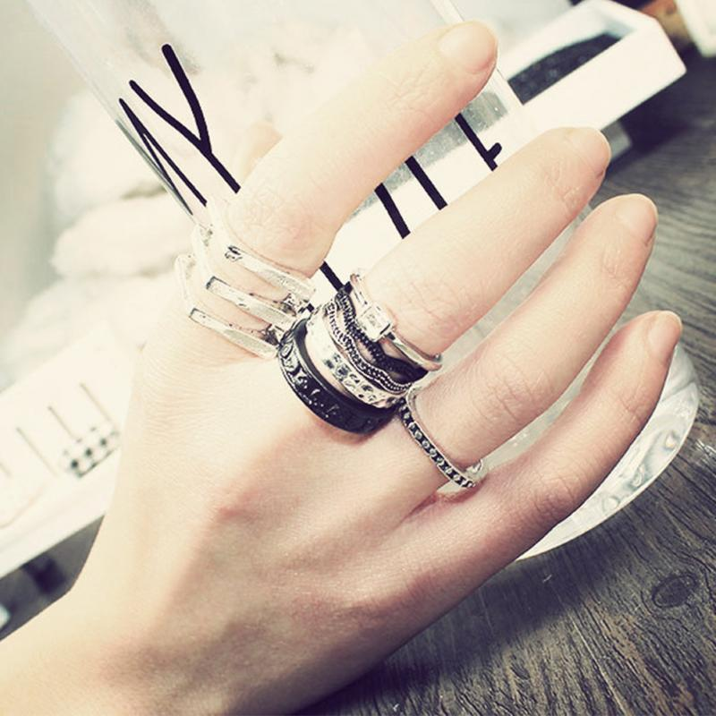 7Pcs/Set Rings Urban Silver stack Love Forever Bow Ribbon Knot Cross Top of Finger Over The Midi Tip Above Knuckle Band Ring(China (Mainland))