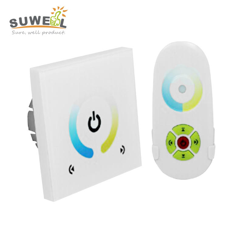 dc 12-24v wireless remote control rf led strip controller dimmer touch panel switch output 2 channel 4A/channel EU standard(China (Mainland))