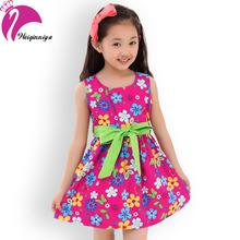 Sommer 2016 Neue Beiläufige Baumwolle Mädchen Kleid Ärmellos Mädchen Kleidung Blumen Mädchen Print Kleider Vestido Infantil Kinder Kleidung(China (Mainland))