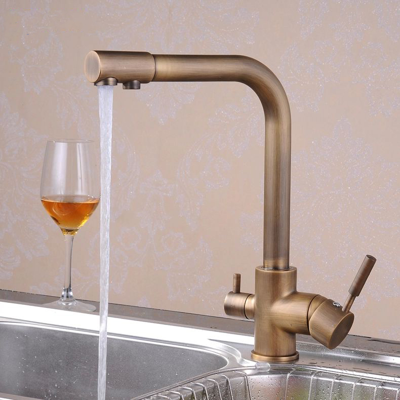 Free Shipping Retail Promotion Antique Brass Kitchen Sink Faucet Water Purification Filter