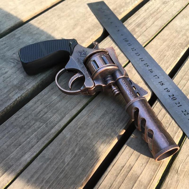 Metal Toy Gun Metal Brown Gun Cowboy Cheap 1:1 Model Toy Guns With Case Boys Kids Birthday Gift Toys(China (Mainland))