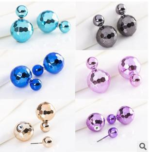 Fashionable reseller White Ball Two Side Simulated Double Pearl Stud Earrings For Women boucle d'oreille Jewelry bijoux unicorn(China (Mainland))