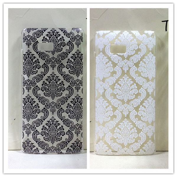Vintage Black &White Paisley Flower Hard Floral Plastic Cases Skin Cover For HTC Desire 600 Dual SIM 606W(China (Mainland))