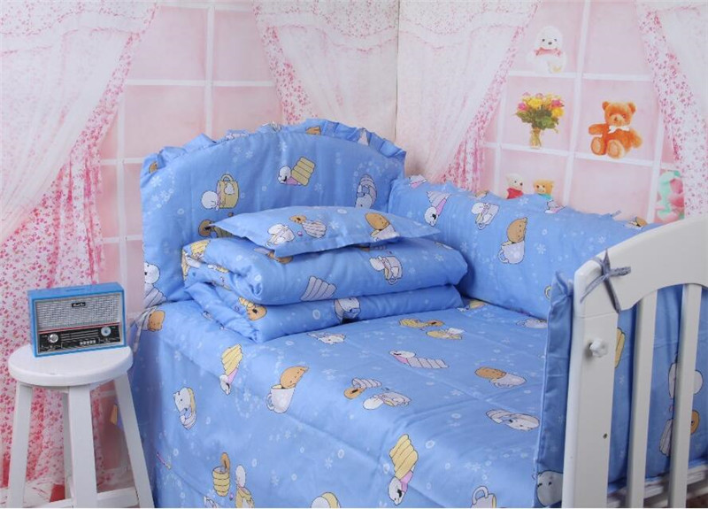Promotion!! Cartoon Dog Toddler Bedding Set Bright Color Cot Bedclothes for Child Kid 10 pcs 5pcs New Blue Baby Crib Accessories(China (Mainland))