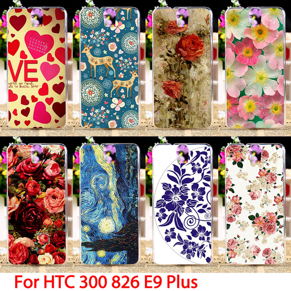 Soft Phone Cases HTC One E9 Plus D826 300 301E D826t D826w E9+ PLUS Bag Flowers Hard Cell Back Covers Housings Sheaths Skins  -  TAOYUNXI Official Store store