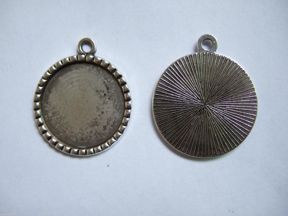 100 Bulk Antique Silver 25mm Round Blank Tray Pendant Bezel/Cabochon Settings 1