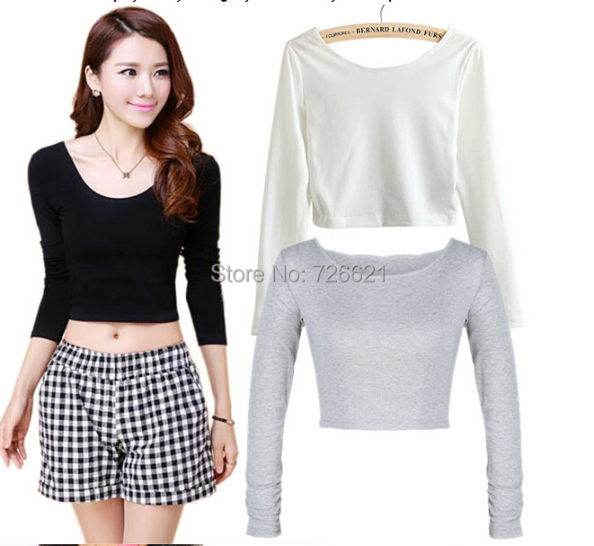 Fashion Solid White Black Grey Womens Cut Out Crop Tops