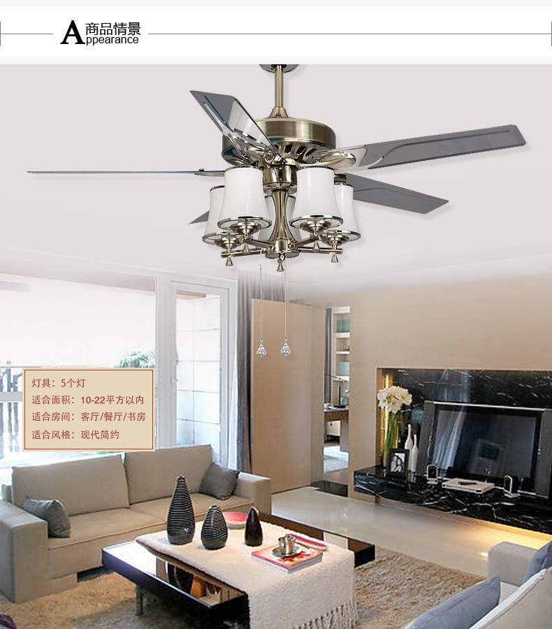 48inch leaves large wind powered fan light living room for Bedroom ceiling fans