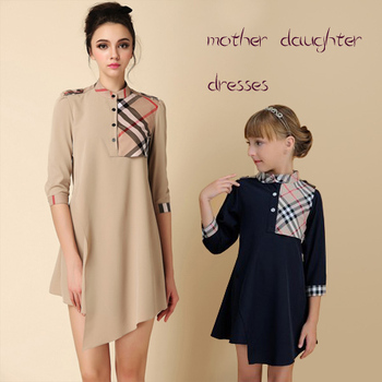 Горячая! платья матери дочь 2015 летние девушки одеваются новый семья посмотрите мода женщин свободного покроя платье плед шифон детская одежда