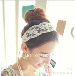 Free Shipping 2013 fashion women headband,lace flower hair band stylish hair accessory 2colors
