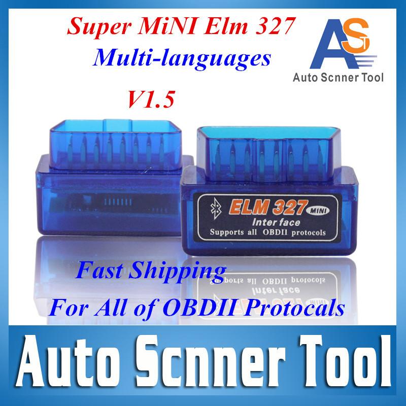 2016 Super Mini Elm327 Bluetooth Latest Version V1.5 elm 327 Interface OBD2 / OBD II Auto Car Diagnostic Scanner OBDII HKP Free(China (Mainland))