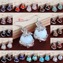 UMY Wholesale Vintage Design Mixed Order Quartz Round Beads Inlay Chinese Style Dragon Drop Earrings Charm Jewelry(China (Mainland))