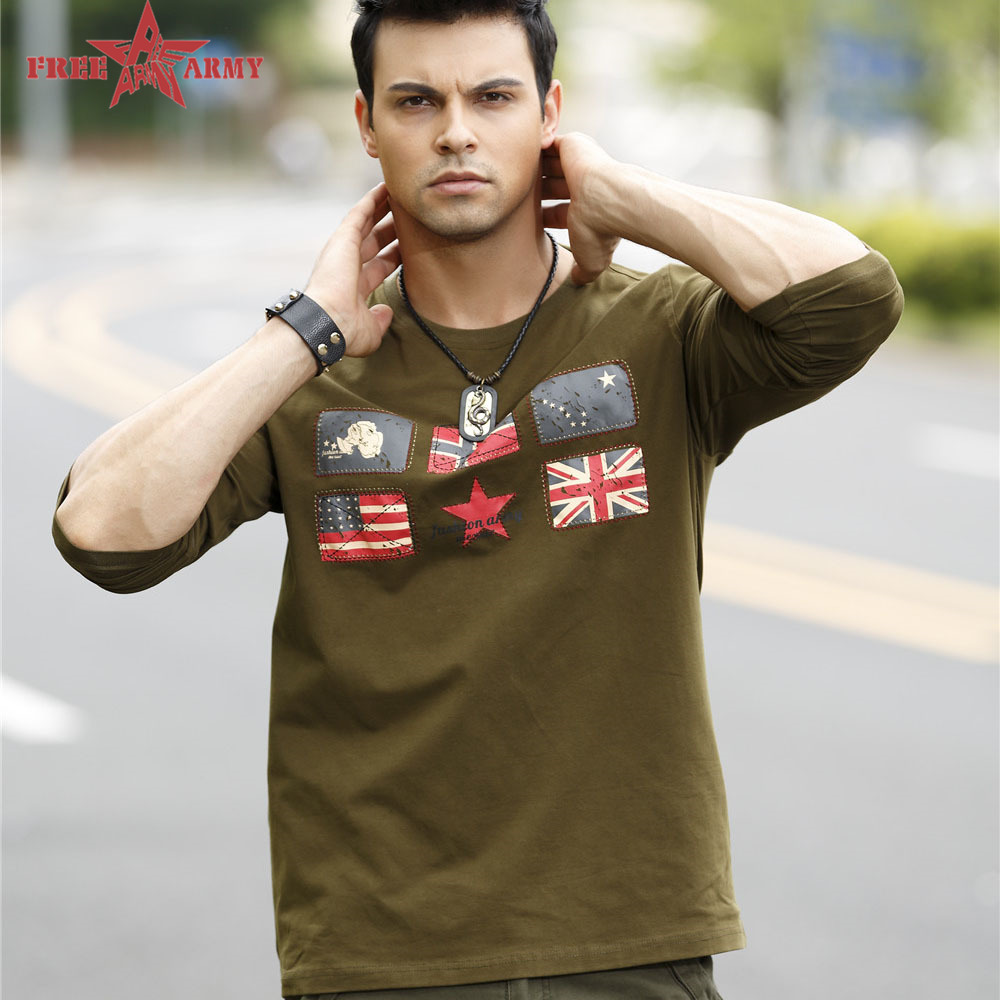 Free Army 2015 New Long Sleeves T Shirts Men Cotton Office printing Embroidered With Flag Army Green Men t-shirt NC-13103(China (Mainland))