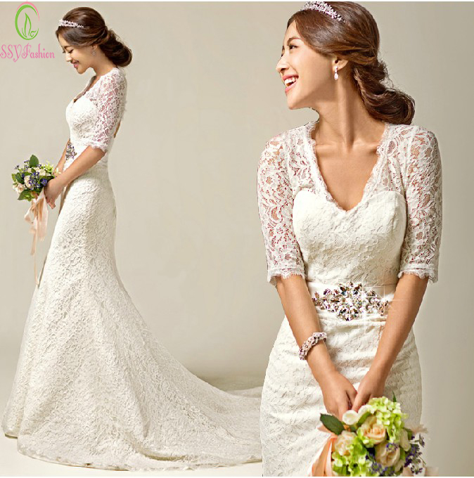 Lace mermaid wedding dress vestido de novia 2016 bride for Princess mermaid wedding dresses