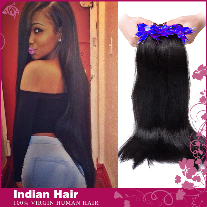 Remy Queen Products Indian Virgin Hair Straight 3 Bundles 3pcs/lot Wholesale Unprocessed 6A Rose Human Hair Indian Virgin Hair(China (Mainland))