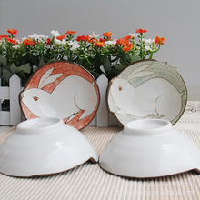 Chang breeze painted ceramic underglaze color cute cartoon rabbit hot new bowl
