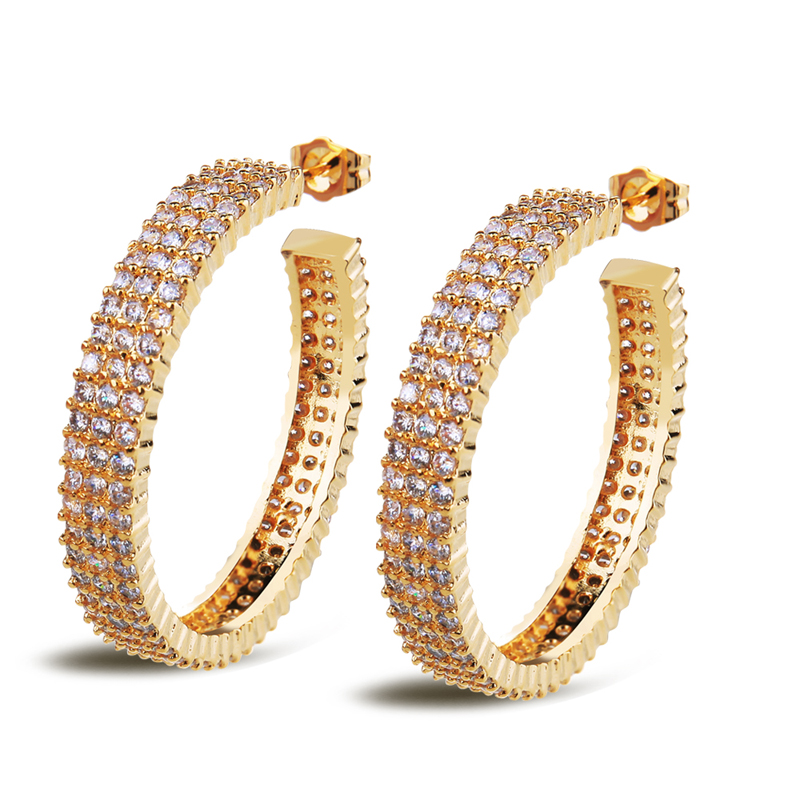 New Arrivals Classic Women Earrings Bridal Wedding Jewelry Top Quality 18K Gold Plated Micro Pave Setting AAA Cubic Zirconia<br><br>Aliexpress