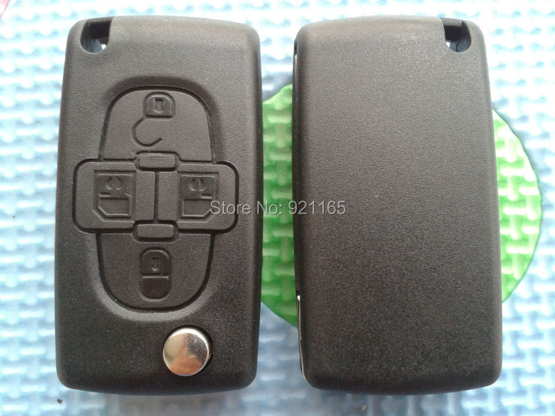4 Button Flip Remote Key Shell With 407 HU83 Blade Without Battery Place With Groove On for Peugeot(China (Mainland))