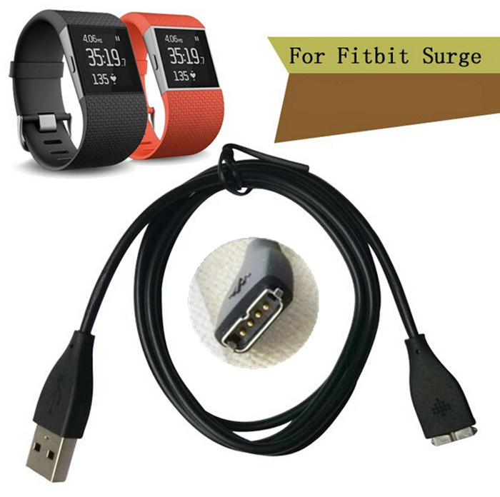 1M Black USB Power Charger Cable Cord for Fitbit Surge Wireless Wristband Bracelet Free Shipping(China (Mainland))