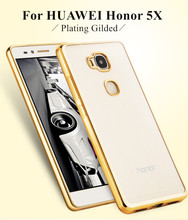 Plating Gilded Transparent Soft TPU Mobile Phone Case for Huawei Honor 5X GR5 X5 Slim Back Cover Protector Accessories