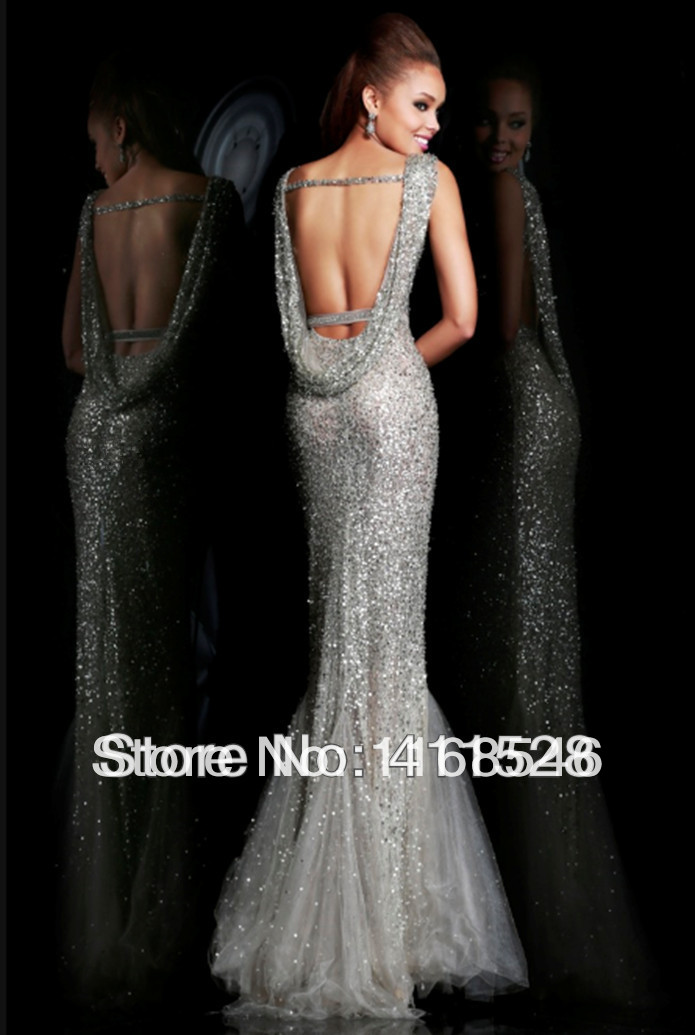 Fully sequin fitted prom dress open back fishtail gorgeous for Long dresses for black tie wedding