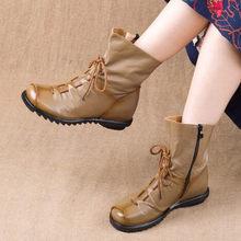 PEIPAD El Yapımı Hakiki Deri Vintage Stil Kadın yarım çizmeler Ayakkabı Kış ve Sonbahar Vintage Martins Çizmeler Kadın Düz Bootie(China)