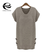 2016 New Autumn Winter Women Casual Short Sleeve O-neck Sweaters Pullovers Tops Blusas Knit Base Dress Plus Size(China (Mainland))
