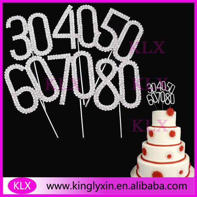 Diamante number Rhinestone Cake Topper For Birthday party cake decors ,Wedding Marriage celebration(China (Mainland))