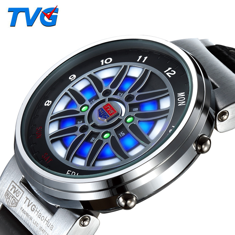 Dazzle cool multifunction LED watches men leather strap digital movement waterproof creative outdoors electron reloj - Gnomon watch Industry Co., Ltd store