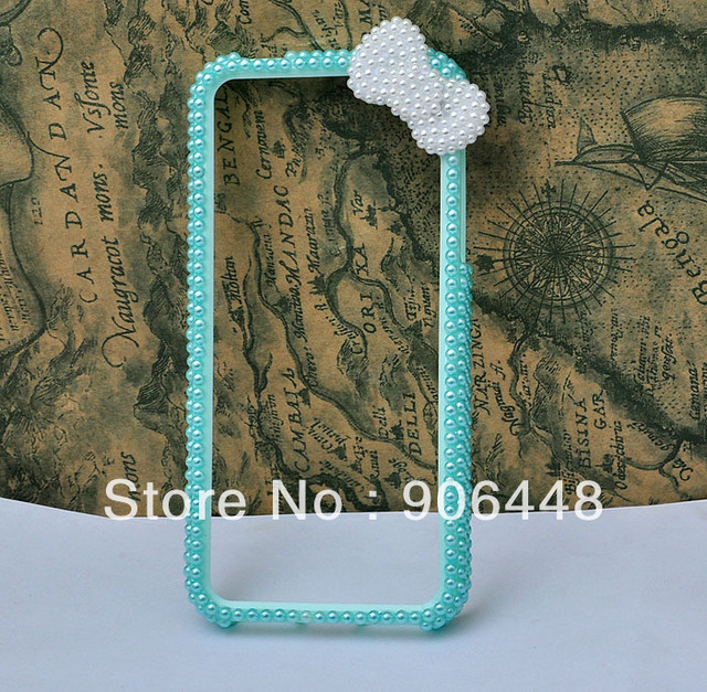 handmade ocean blue cell phone case frame bumper for iphone 5 5s  adorned with pearls bow 1pcs