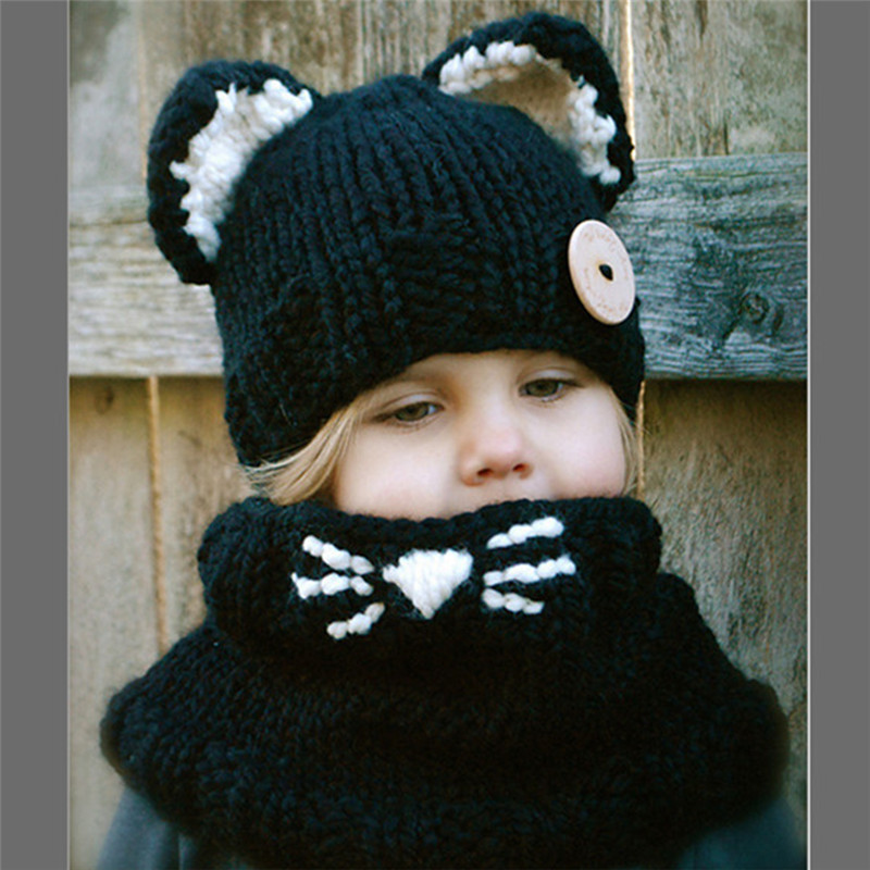 2016 New Warm Winter Hat For Children Hat Girl Warm Cap Baby Knitted Hat For Kids Double Ball Skullies Beanies Accessories(China (Mainland))