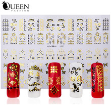 New Gold Black 3D Nail Stickers Top Quality Metalic Adhesive DIY Styling Nail Beauty Decals Accessories Tools