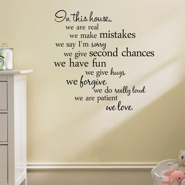 Home rules wall decor sticker wall sticker home quote for Living room quote stickers