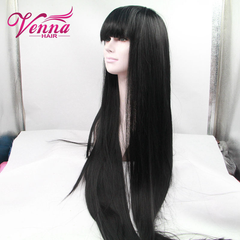 Straight Wigs Glueless Synthetic lace front wigs long hair for black women,free part black hair wigs cap size medium<br><br>Aliexpress