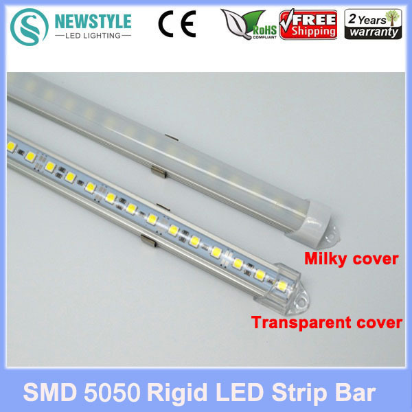 5pcs*50cm Factory Wholesale 50CM DC 12V 36 SMD 5050 LED Hard Rigid LED Strip Bar Light with U Aluminium shell +pc cover(China (Mainland))