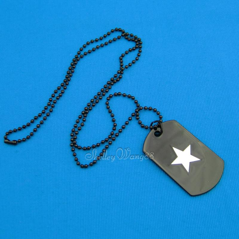 Black Stainless Steel Dog Tag Necklace