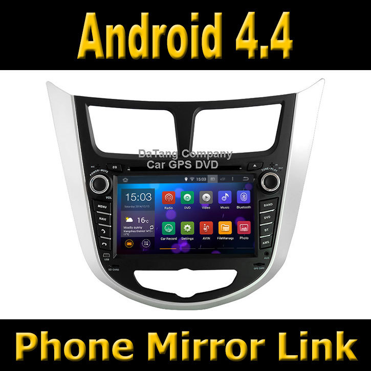Android 4.4 System Car GPS DVD Head Unit for Hyundai i25 / Verna / Solaris / Accent with Radio + Phone Mirror Link Function(China (Mainland))