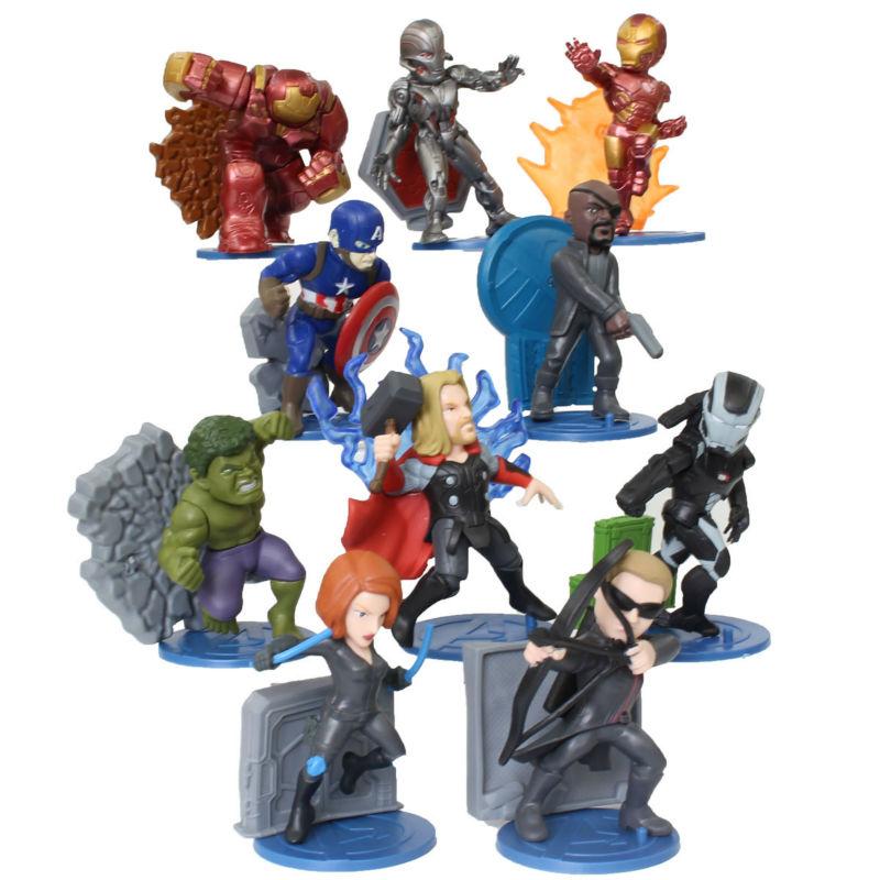 Marvel Avengers 2 Age of Ultron Hulk Black Widow Vision Ultron Iron Man Captain America PVC Figures Model Toys 10pieces/set<br><br>Aliexpress