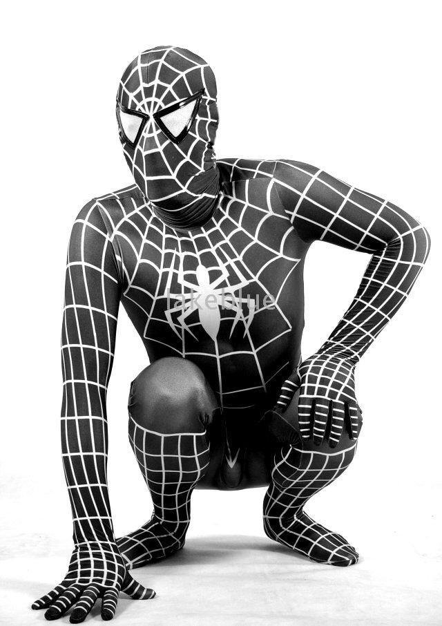 new cosply costume black white Lycra/Spandex Spiderman Hero zentai catsuit z22 customize size children - lakeblue store