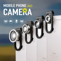 iMeaning Universal Clip 4 in 1 Fish Eye Wide Angle Lens for Samsung Macro Fisheye Mobile Phone Lens for iPhone