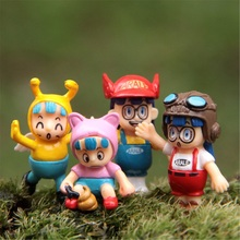 4PCs/set cute cartoon Dr. Slump Arale Norimaki Mini PVC Figure Retail Decor Fairy Garden Dollhouse Ornament Model Toy Kids - Panbeads-supplies Jewelry Co., Ltd. store
