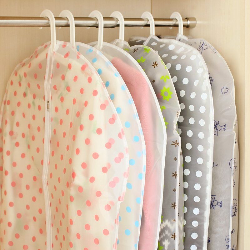 Transparent waterproof dust cover circle dot clothes bag water wash clothes storage bag 61697(China (Mainland))