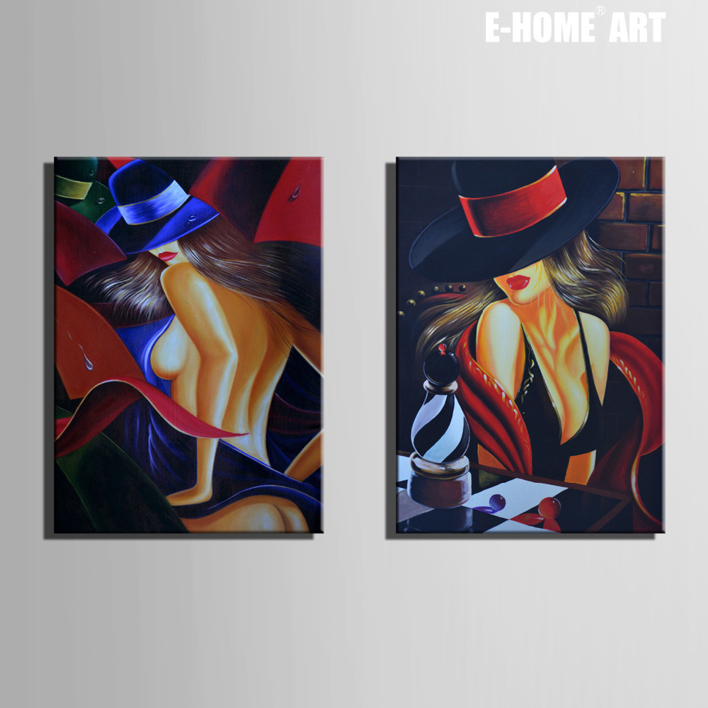 Free Shipping E-HOME Oil Painting Sexy Woman Decoration Painting Set of 2 Home Decor On Canvas Modern Wall Print(China (Mainland))