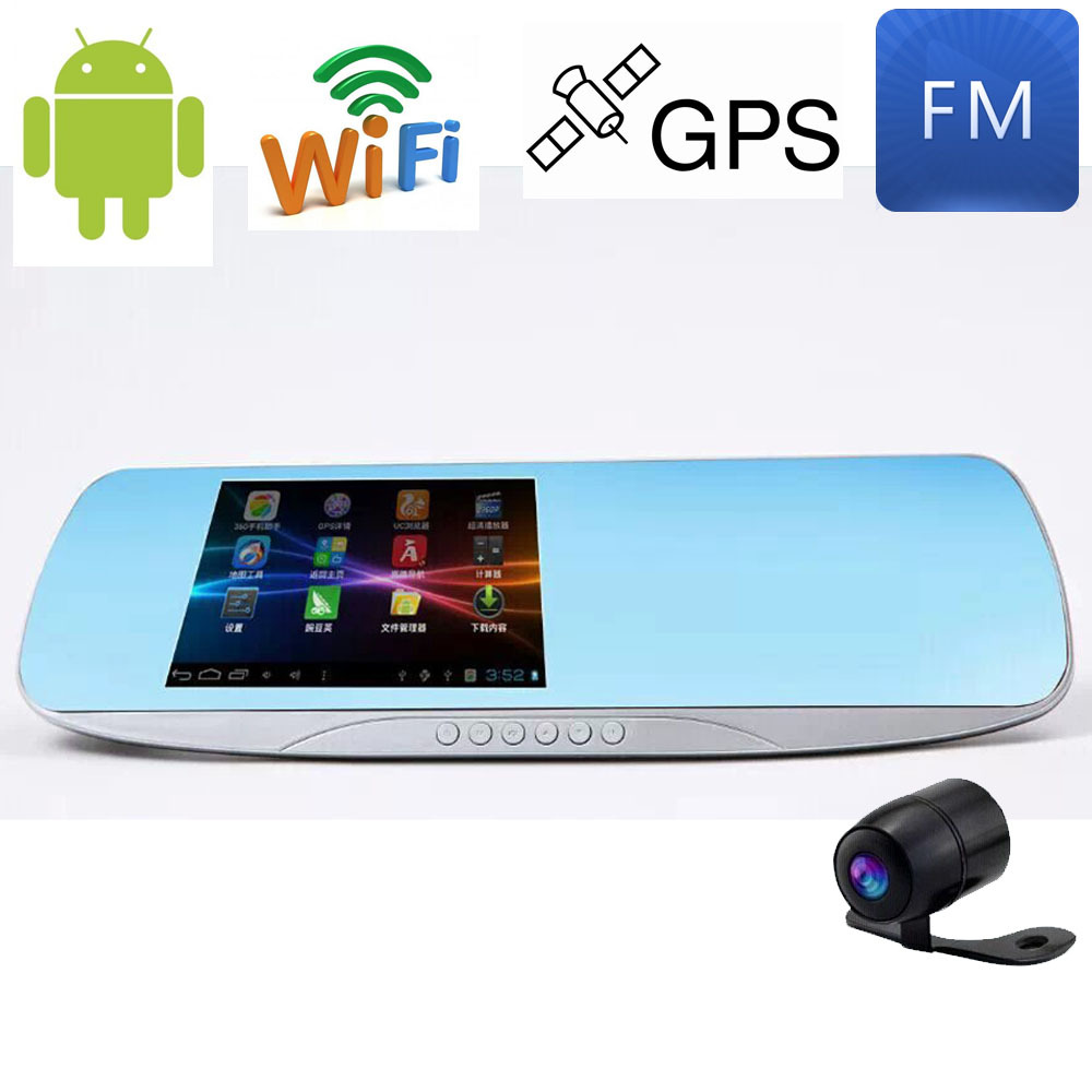 5 Inch Touch Android GPS Navigation Wifi FM FHD 1080P Parking Car DVR Rearview Mirror Camera Video Recorder Dual Lens(China (Mainland))