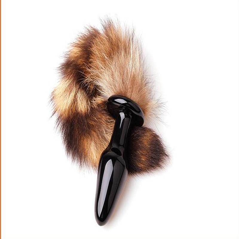 Waterproof Cosplay Fox Tail Glass Anal Plug, sexy Crystal poppers rush, bullet butt plug of anal sex toy, sex for couple(China (Mainland))
