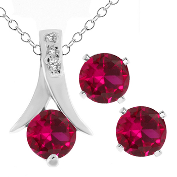 """GemStoneKing Fashion Women 925 Sterling Silver Jewelry Set 2.40 Ct Round Created Ruby Pendant and Earrings Set 18"""" Chain"""