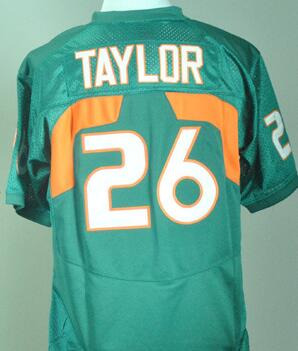 #26 Sean Taylor Jersey White Orange Green Mens M-XXXL 100% stitched Sean Taylor College Jersey Free shipping(China (Mainland))