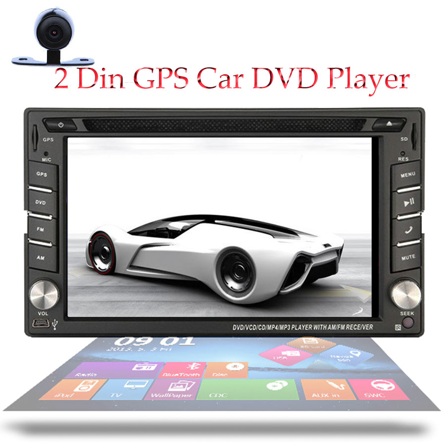 "Free Camera+GPS Card 2 Din Car Radio Monitor Headunit GPS Navigation In Dash Car Stereo 6.2"" HD Touch Screen Car DVD Player(China (Mainland))"
